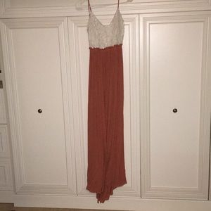 white and peach colored long summer dress